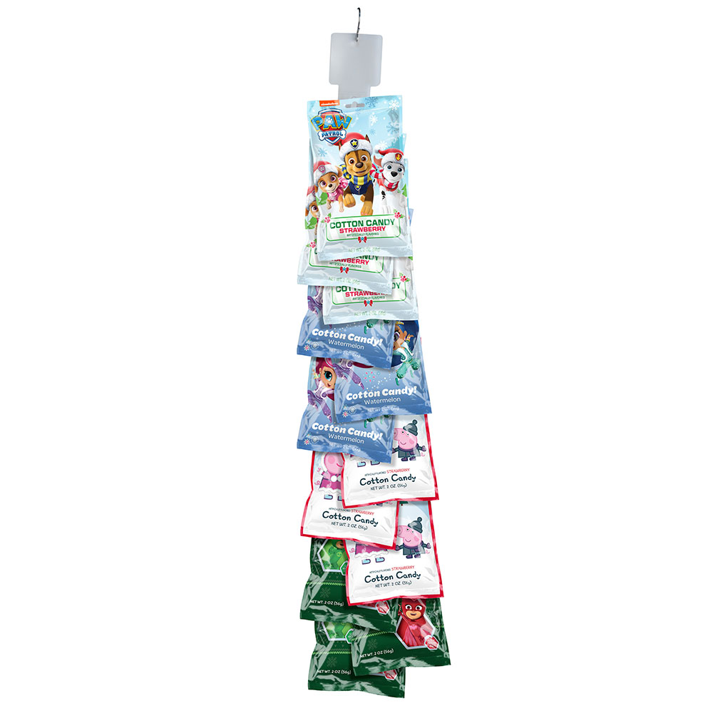 Assorted Christmas 2oz Cotton Candy Bags Clip Strip