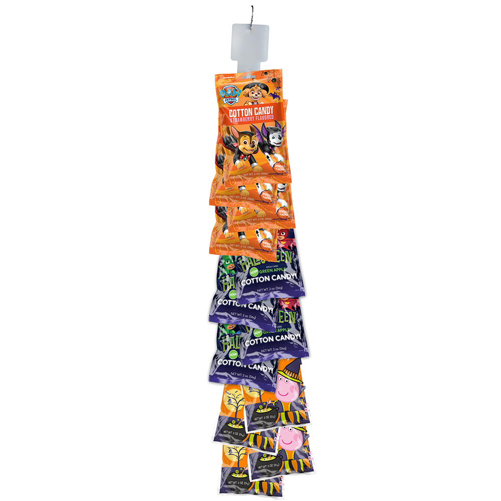 Assorted Halloween 2oz Cotton Candy Bags Clip Strip