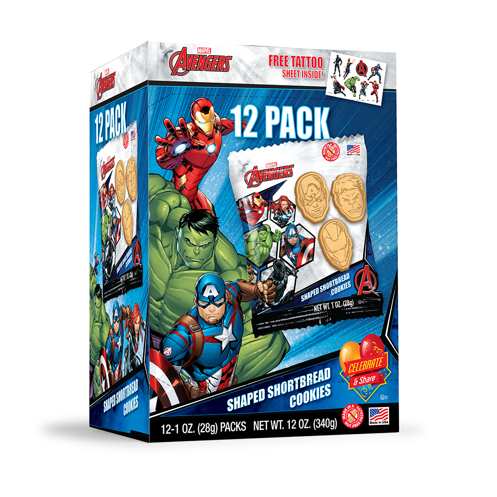 12pk Marvel Avengers Shortbread Cookies with Tattoo Sheet