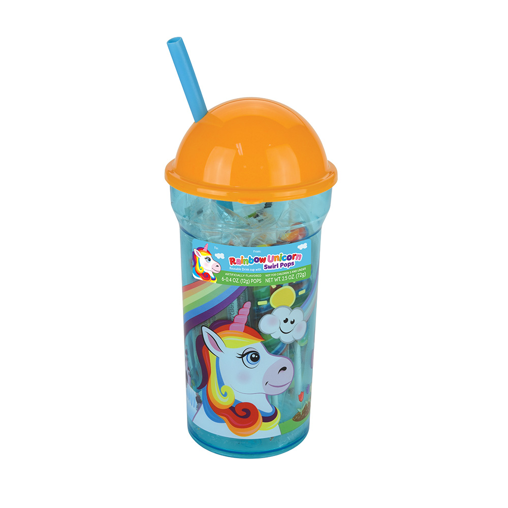 Rainbow Unicorn Dome Cup with Swirl Pops