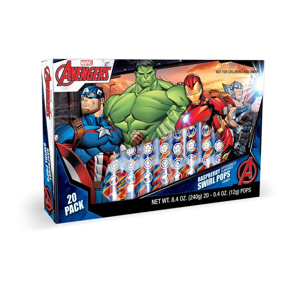 20pk Marvel Avengers Swirl Pops Box