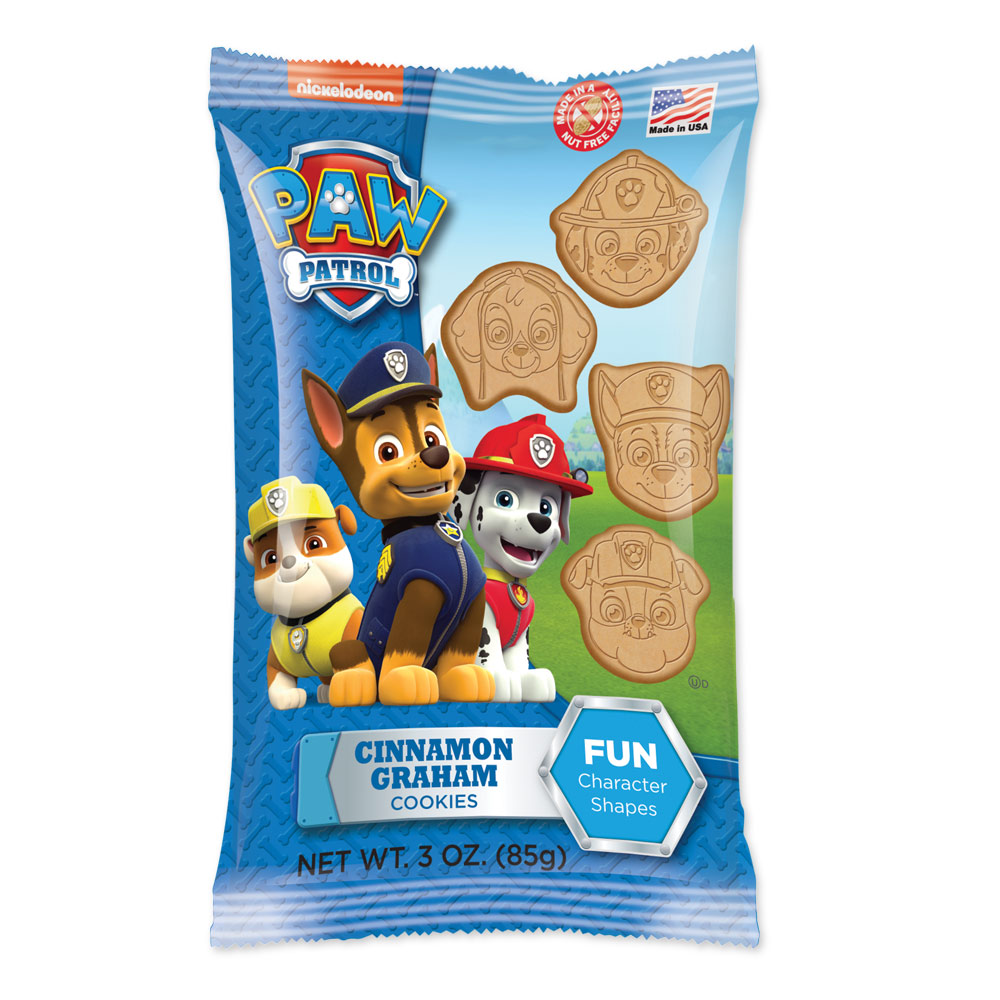 Paw Patrol 3oz Shaped Cinnamonn Graham Cookies Bag