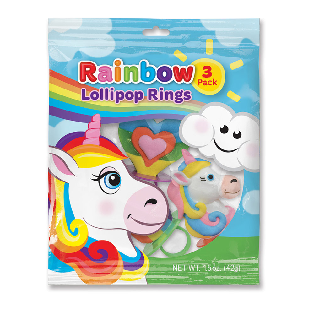 3pk Rainbow Unicorn Lollipop Rings