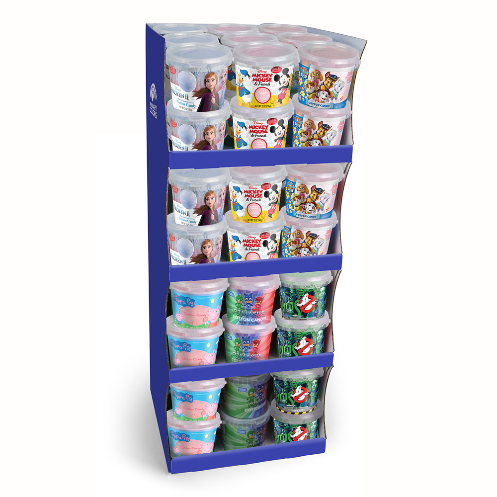 Assorted Licensed 2oz. Cotton Candy Tubs Floor Display 3907