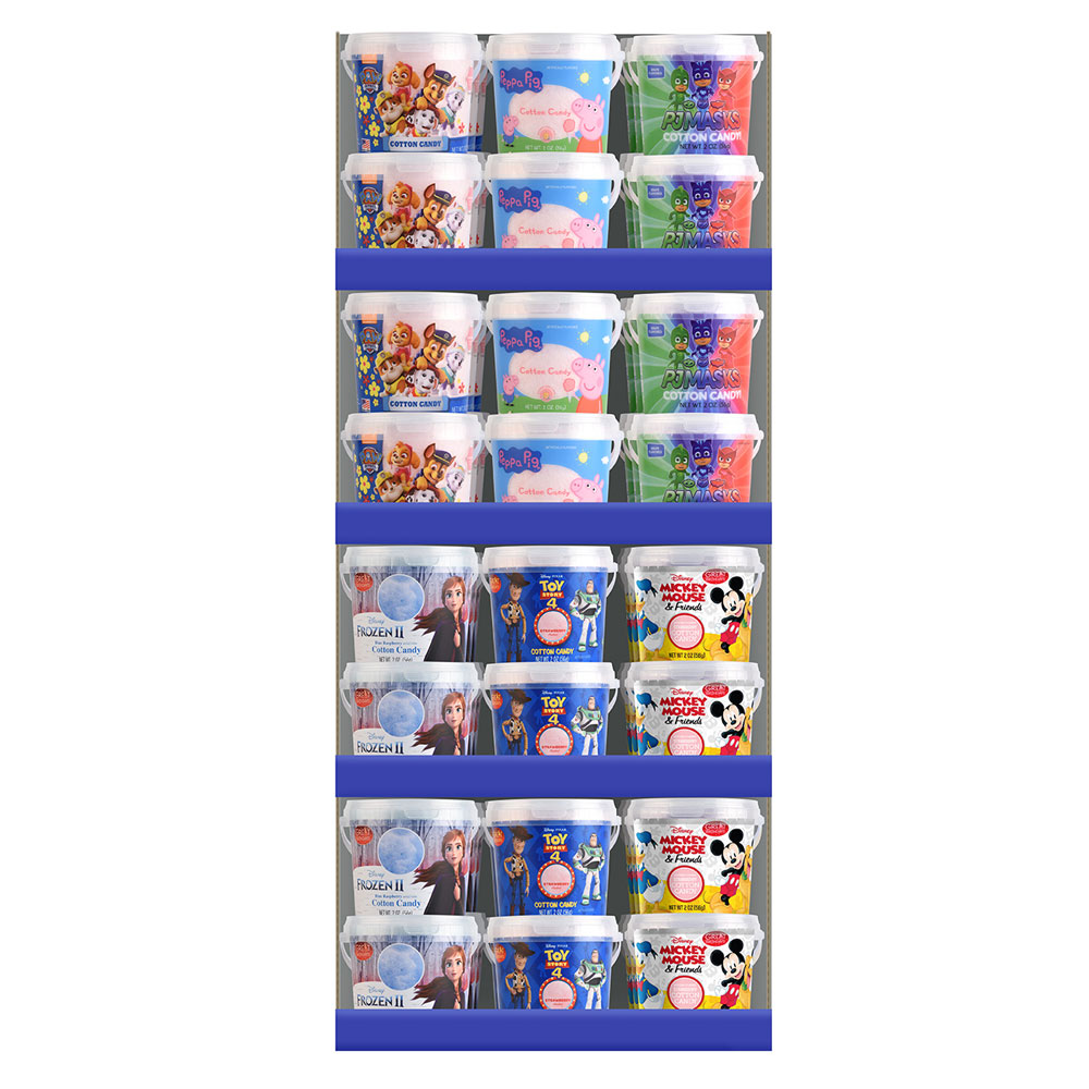 Assorted Licensed 2oz. Cotton Candy Tubs Floor Display 3913