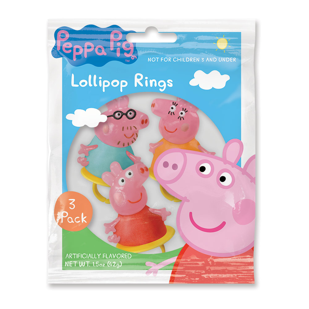 3pk Peppa Pig Lollipop Rings