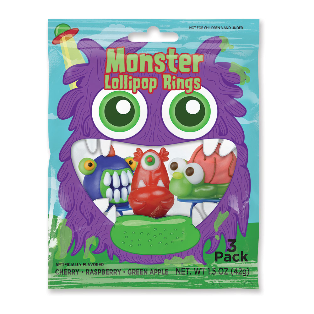 3pk Monster Lollipop Rings