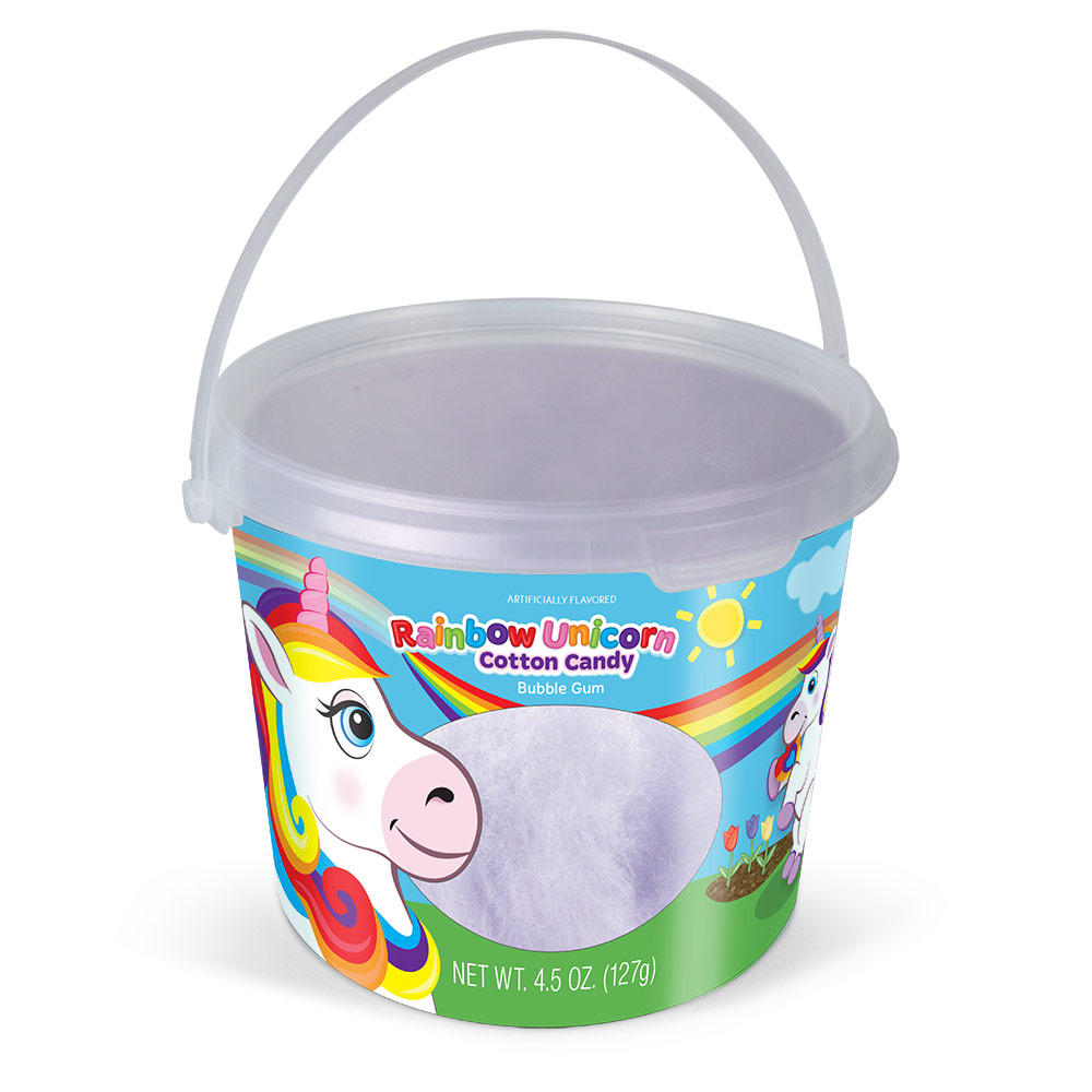 4.5oz Rainbow Unicorn Cotton Candy Tub, Bubble Gum