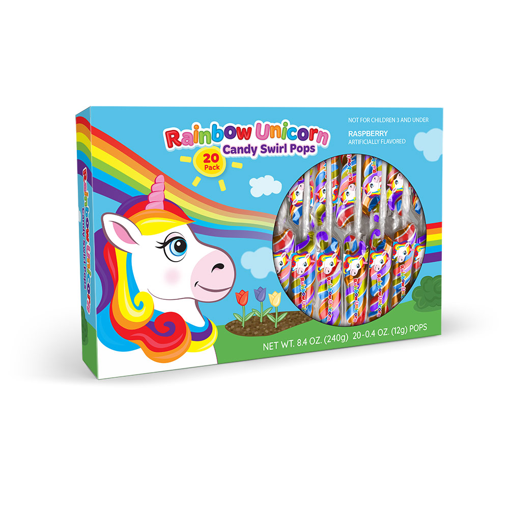 20pk Rainbow Unicorn Swirl Pops Box