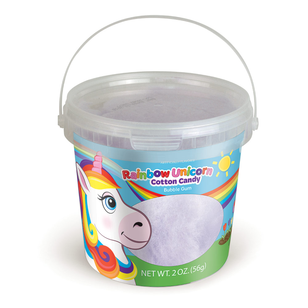 2.0oz Rainbow Unicorn Cotton Candy Tub, Bubble Gum