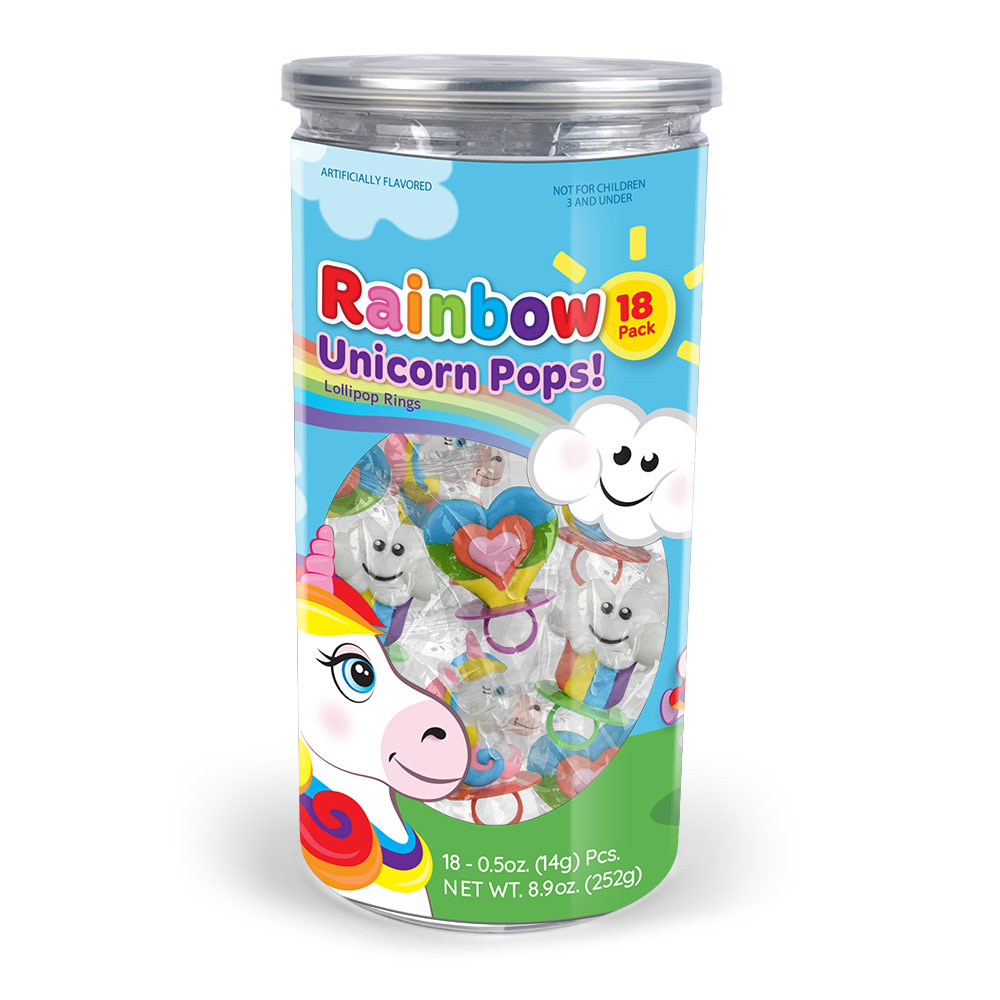 18pk Rainbow Unicorn Lollipop Rings Tub