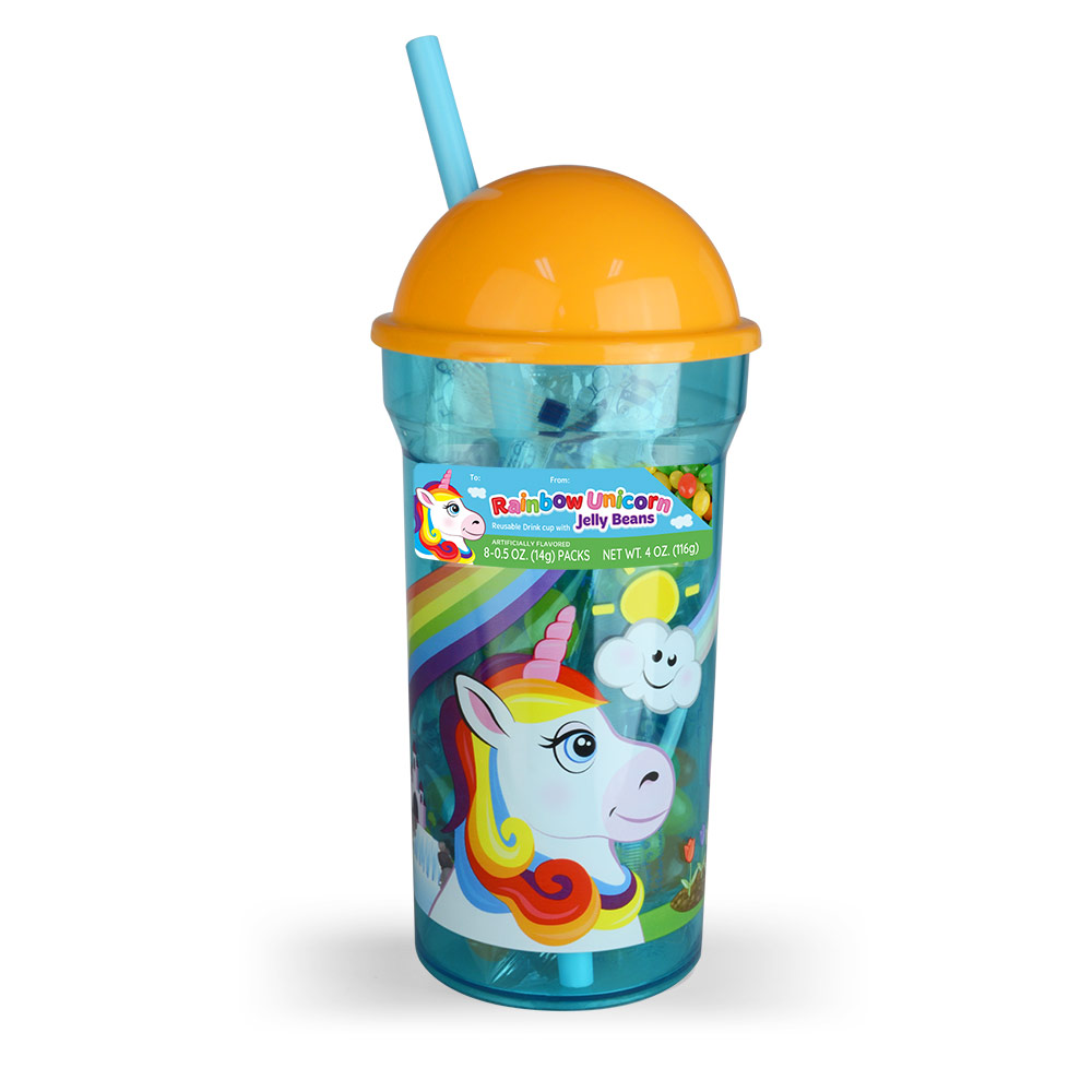 Rainbow Unicorn Cone Top Cup w/Jelly Beans