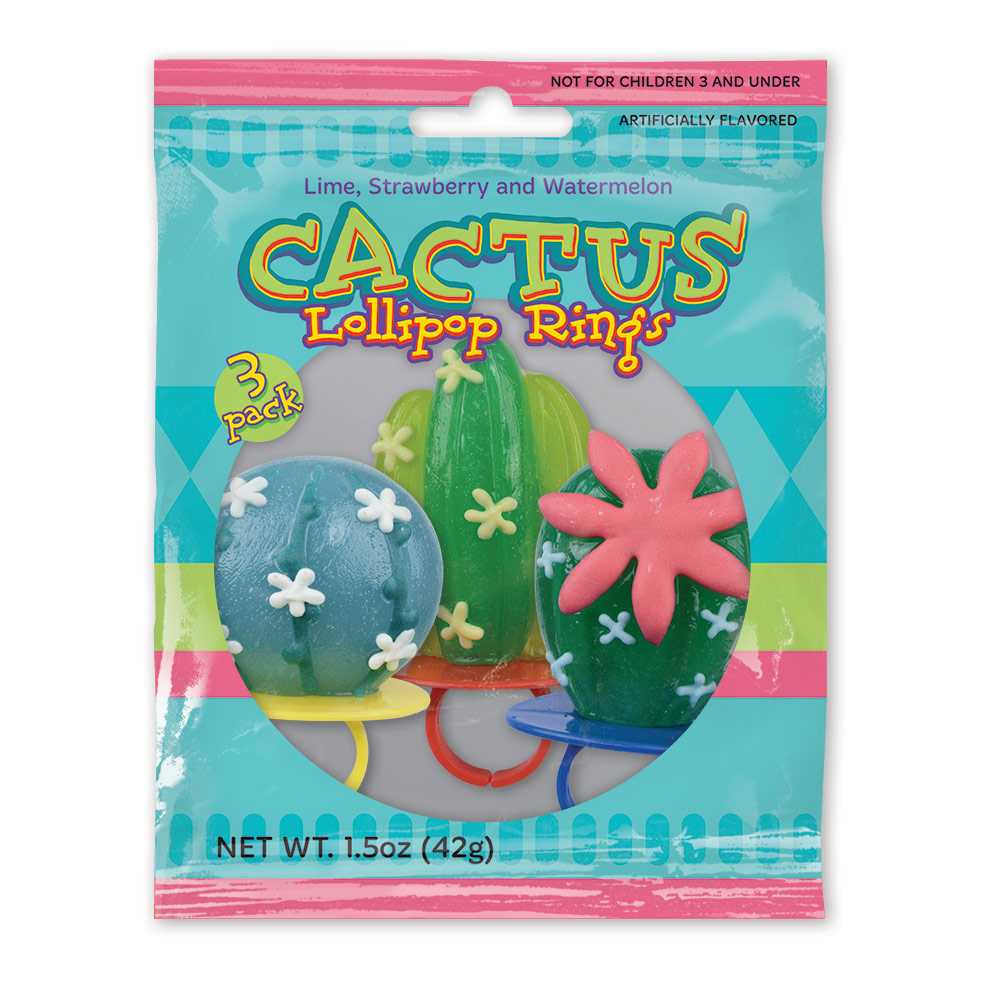 3pk Cactus Lollipop Rings