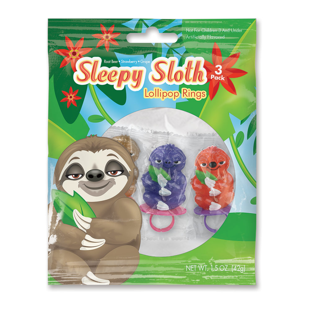 3pk Sloth Lollipop Rings