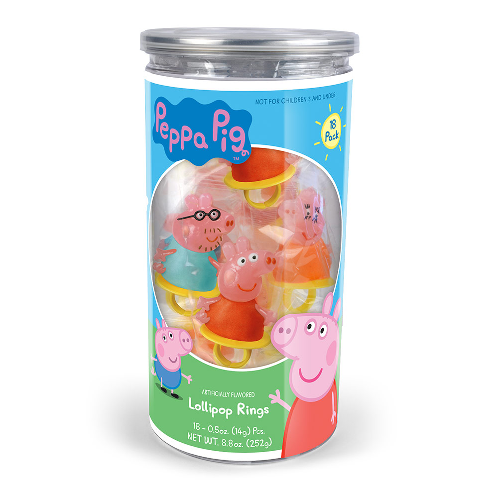 18pk Peppa Pig Lollipop Rings Tub