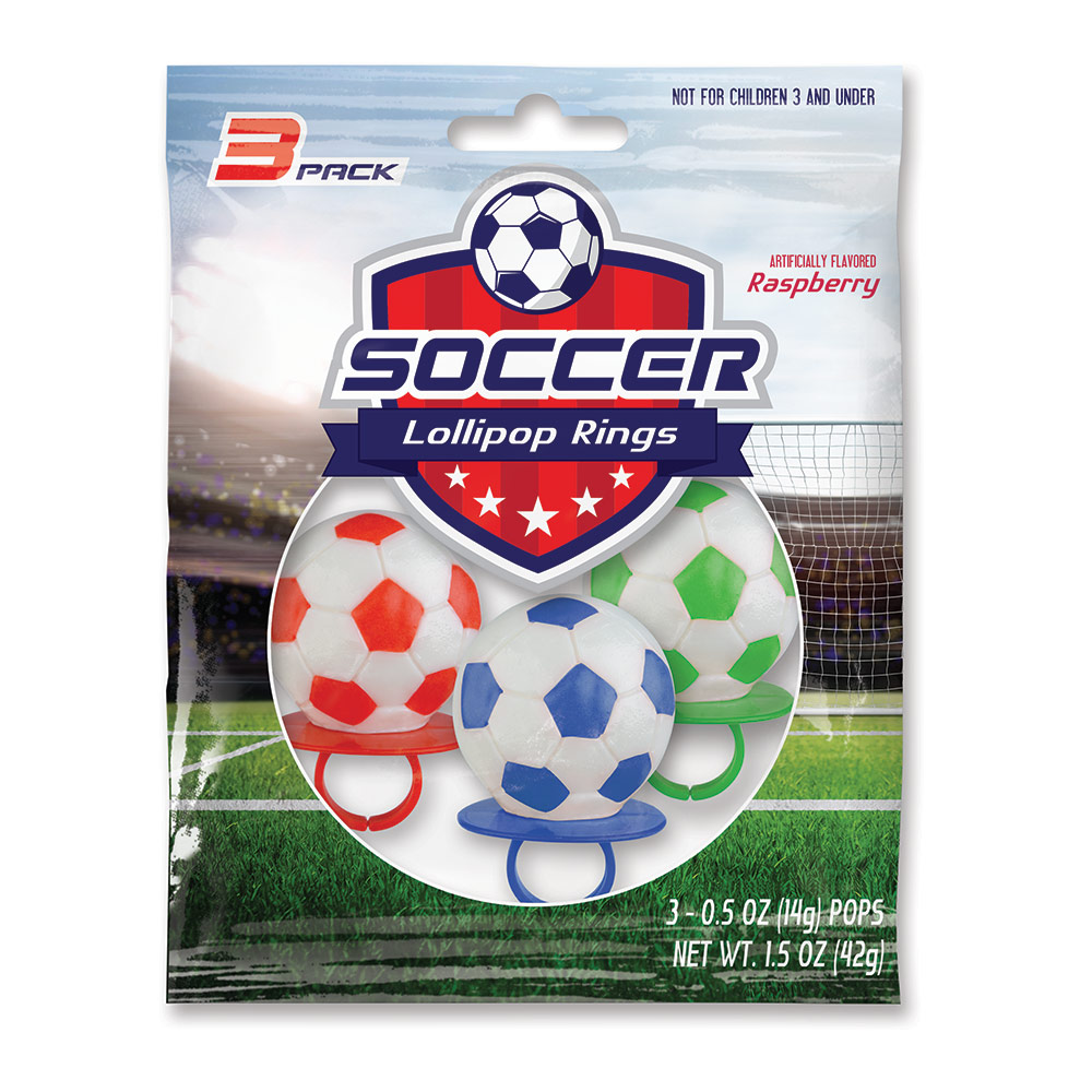 3pk Soccer Ball Lollipop Rings