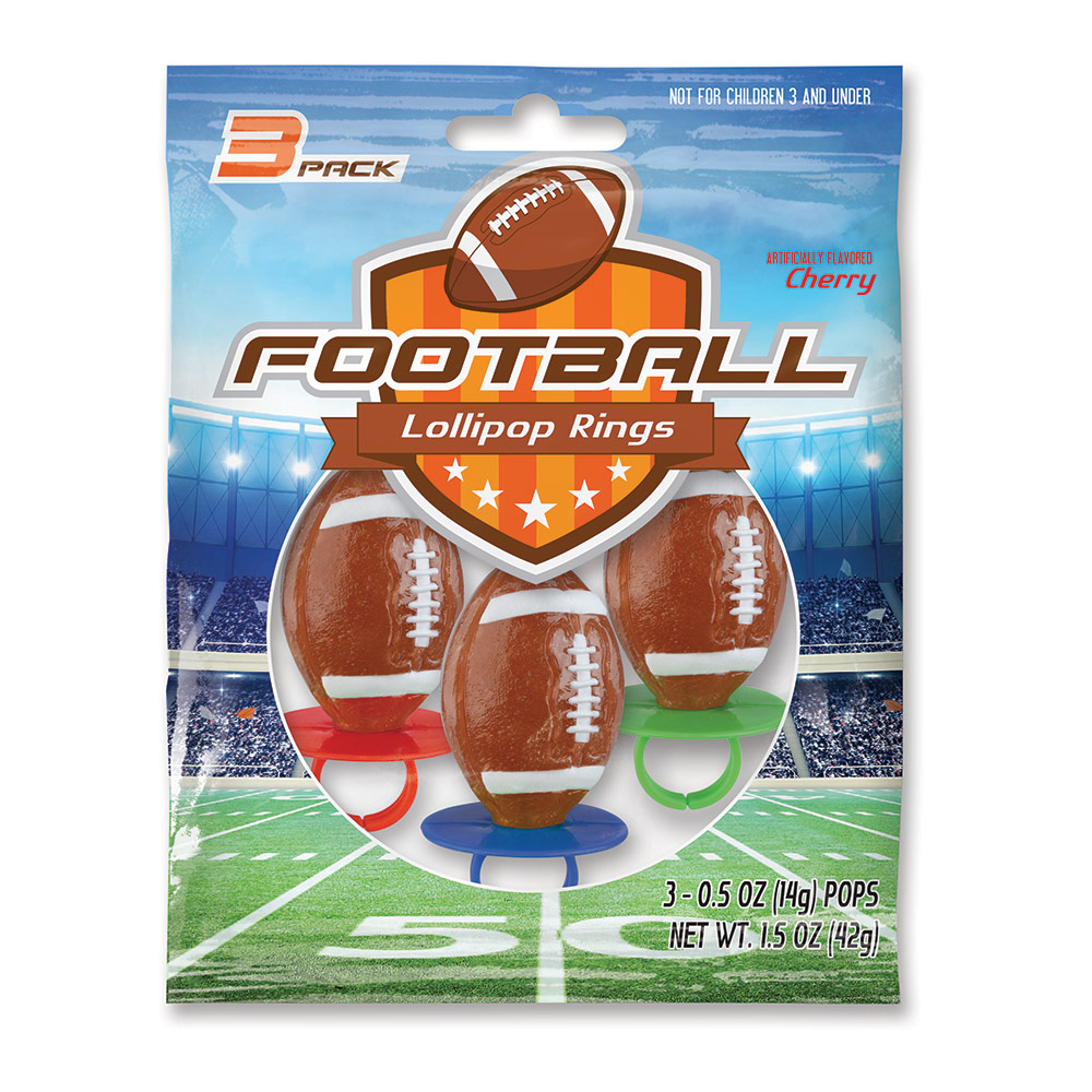 3pk Football Lollipop Rings