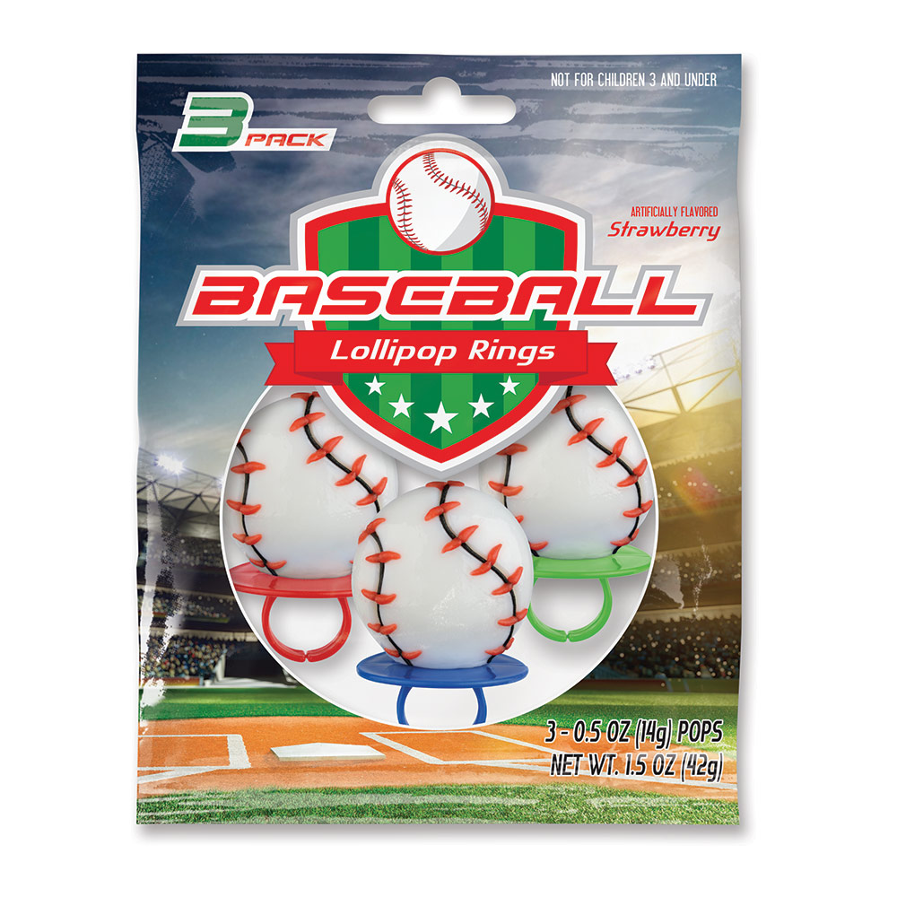 3pk Baseball Lollipop Rings