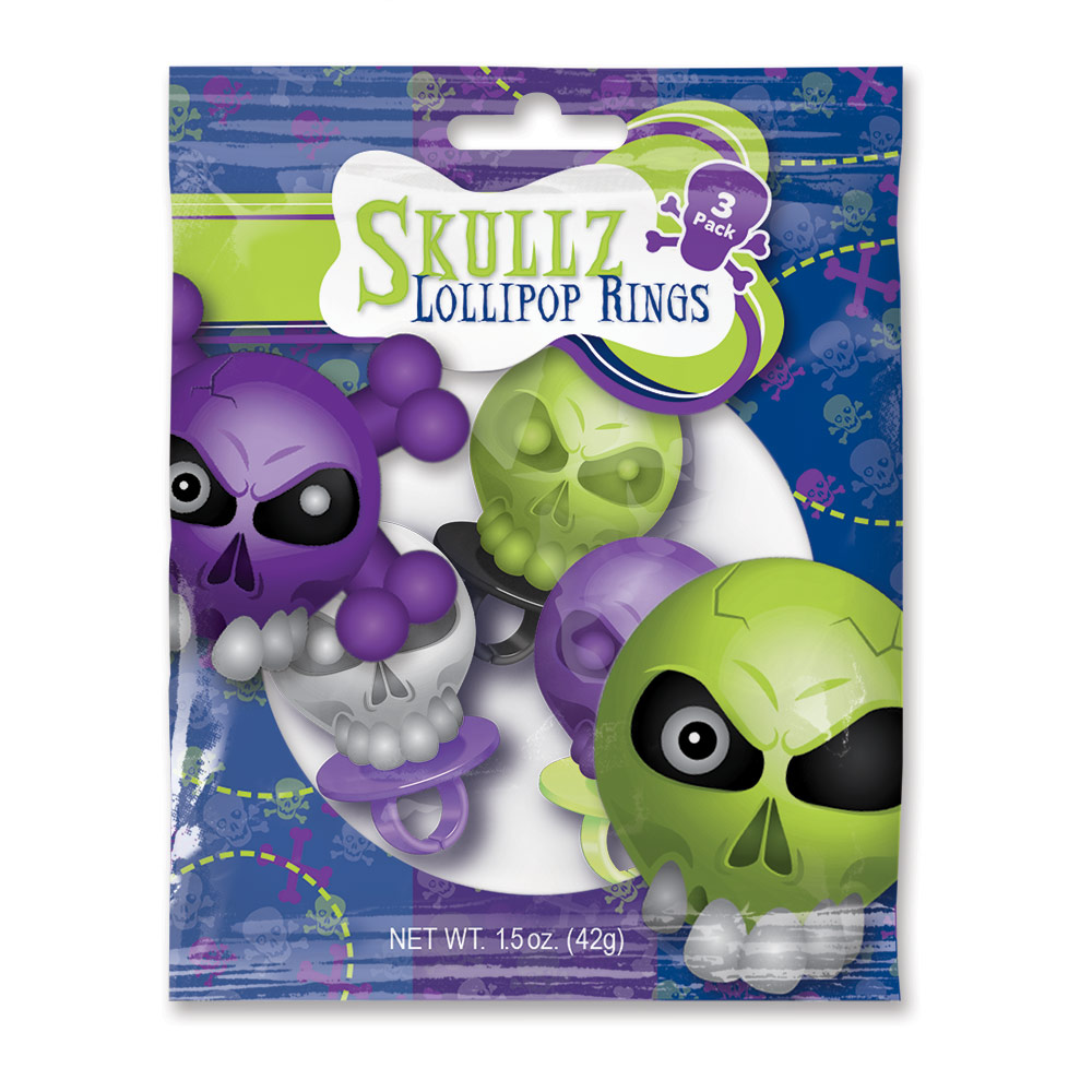 3pk Skull Lollipop Rings