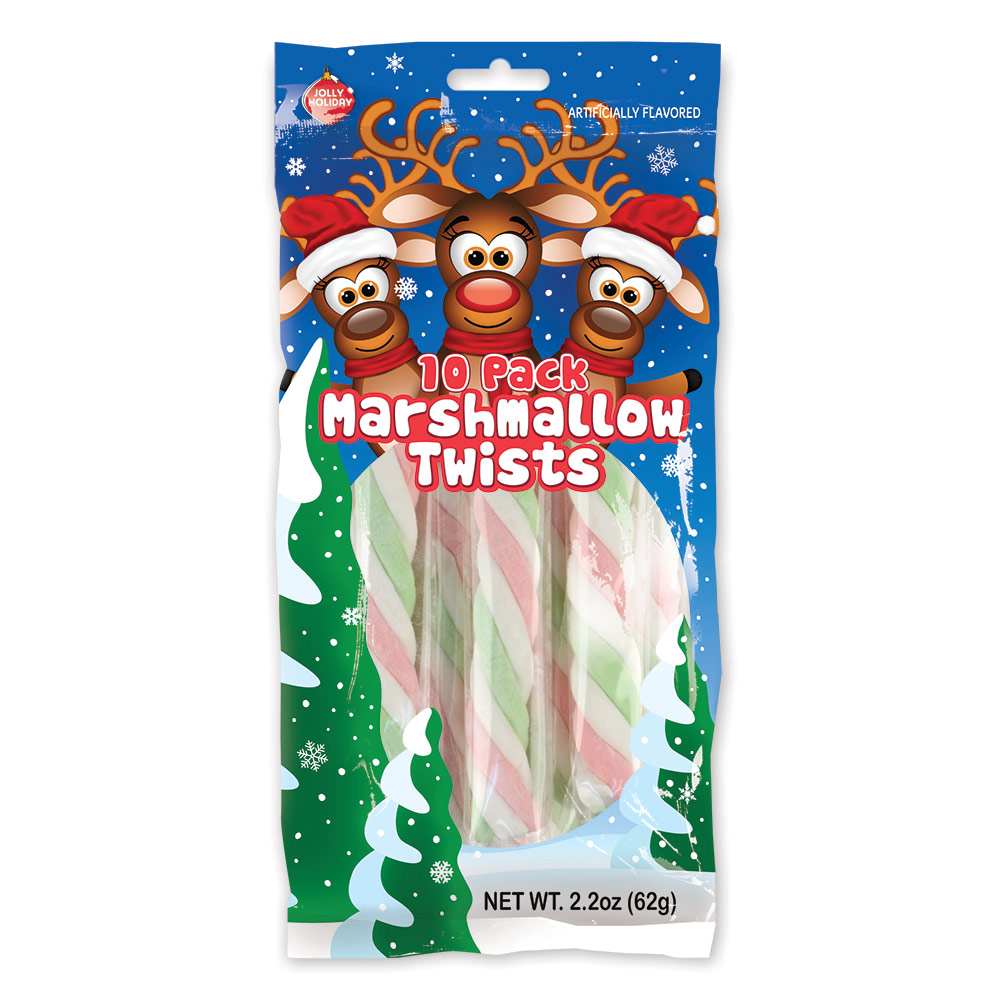 10pk Jolly Holiday Reindeer Marshmallow Poles