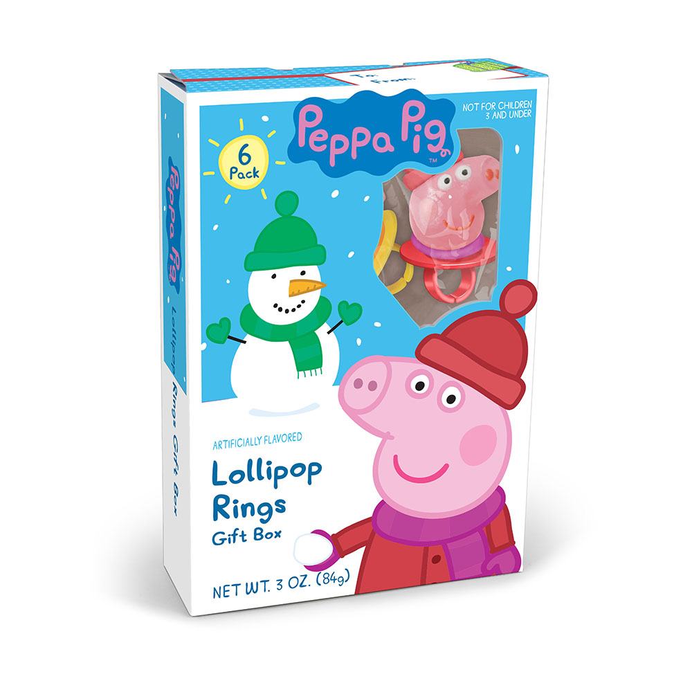 6pk Peppa Pig Christmas Lollipop Rings Gift Box