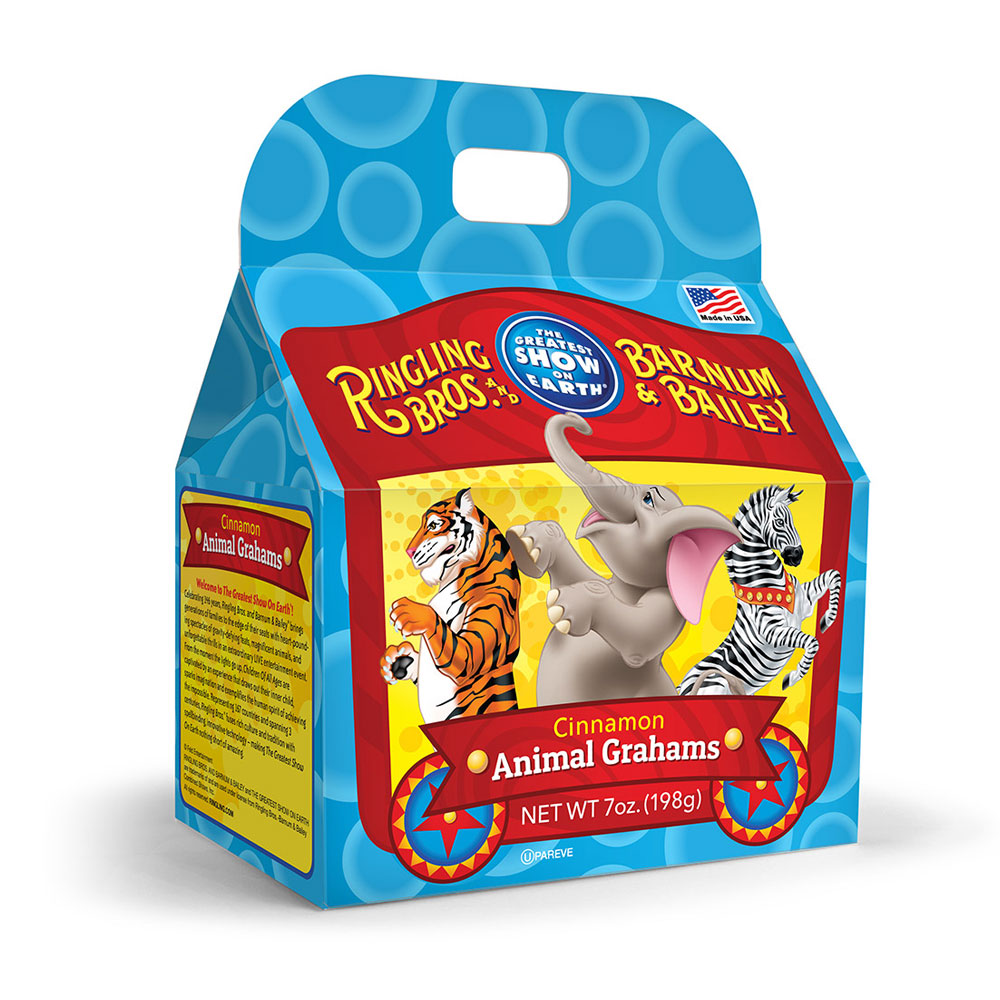 Ringling Brothers Cinnamon Graham Cracker Animal Cookies Gable Box