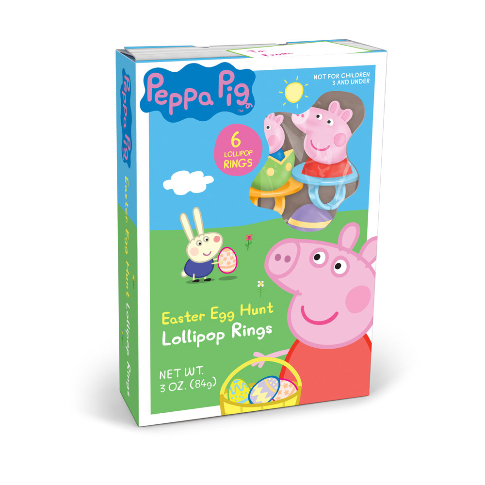 6pk Peppa Pig Easter Lollipop Rings Gift Box