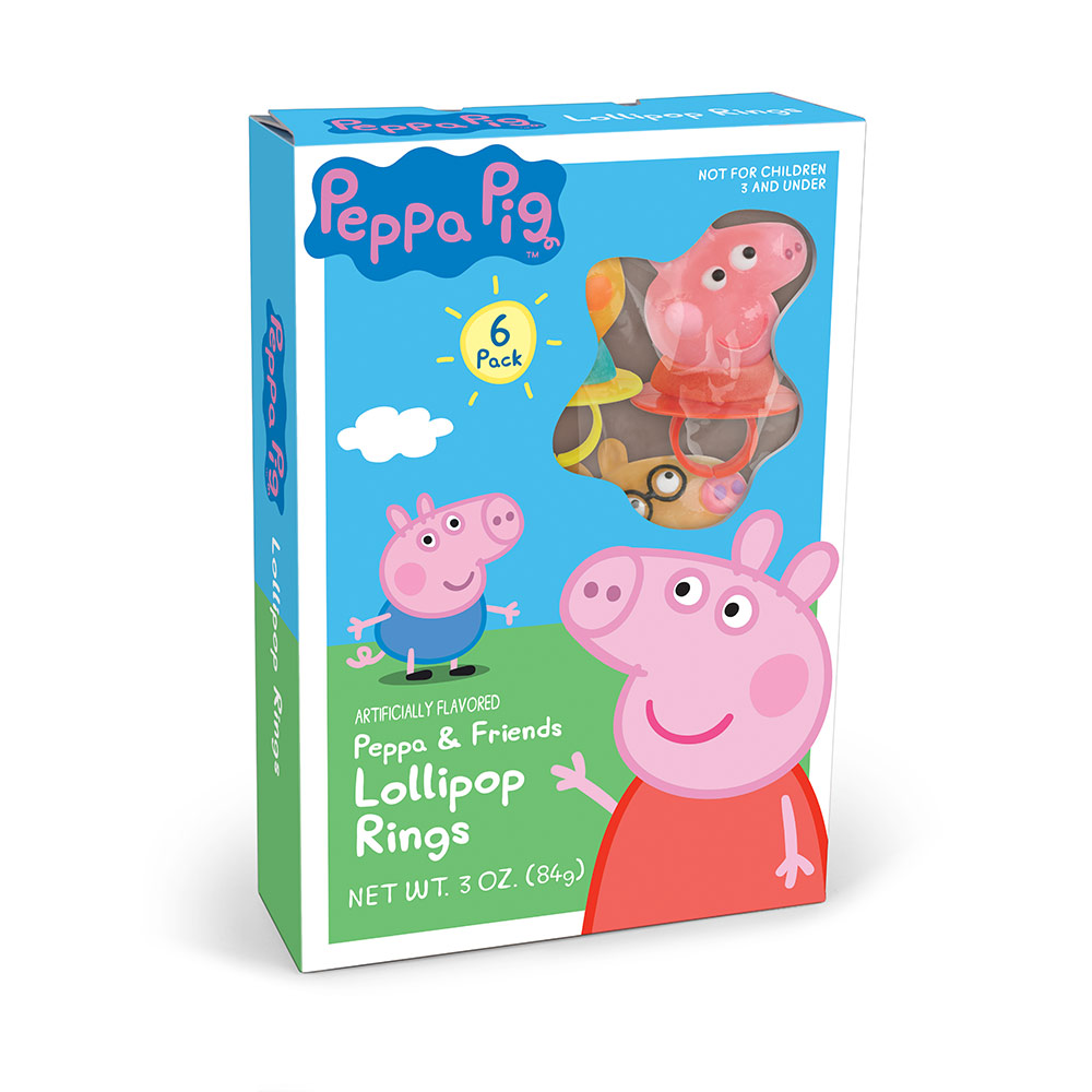 6pk Peppa Pig Lollipop Rings Gift Box
