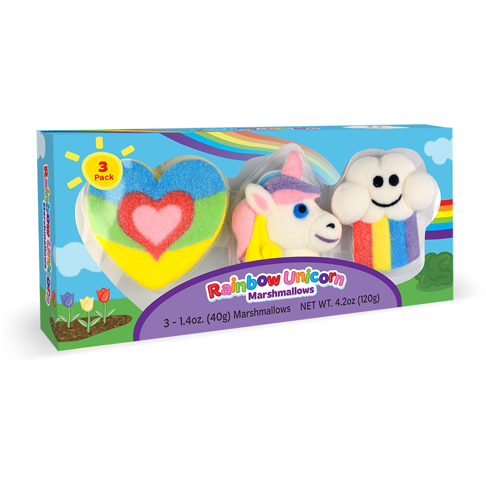 3pk Rainbow-Unicorn Shaped Mallows