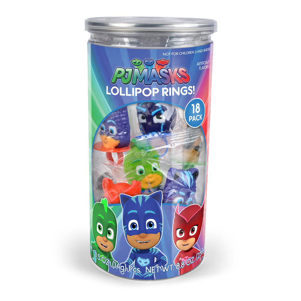 18pk PJ Masks Lollipop Rings Tub
