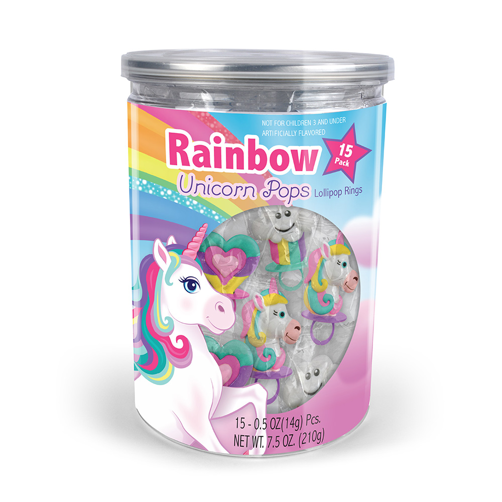 15pk Rainbow Unicorn Lollipop Rings Tub