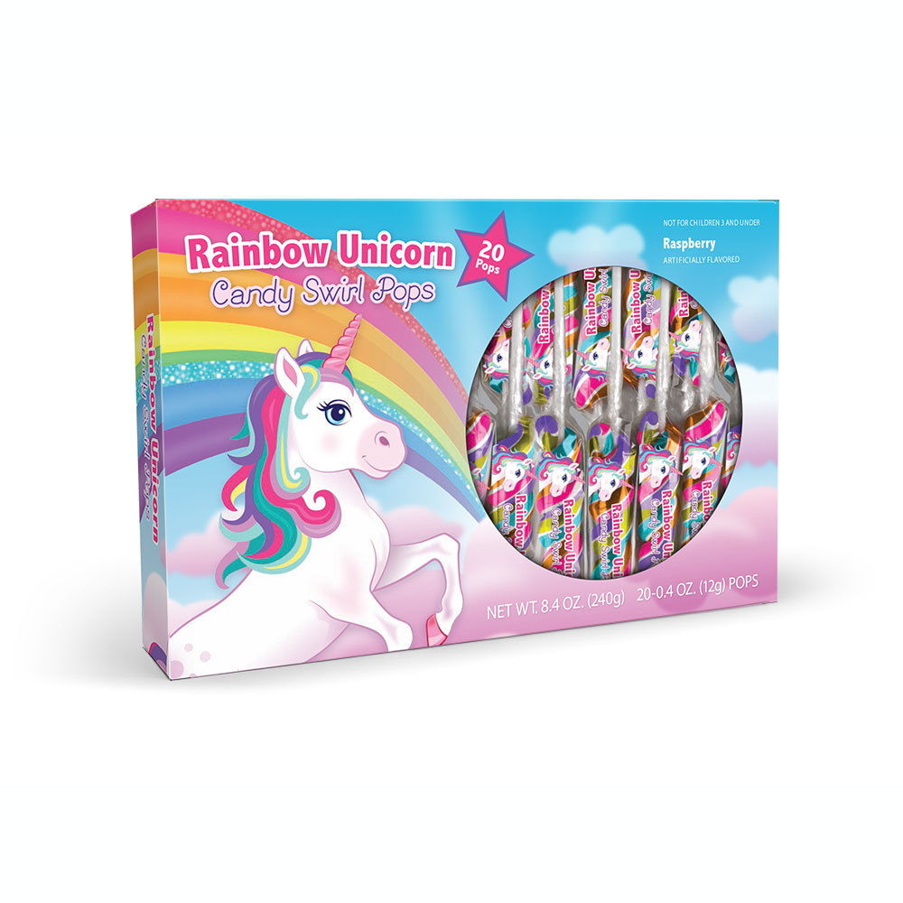 20pk Rainbow Unicorn Lollipop Swirls